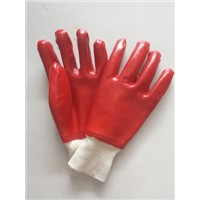 "10"" Red single dipped smooth finished pvc safety gloves"