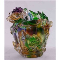 Crystal Glass Flower Artwork Liuli Colored Glaze Pate de verre