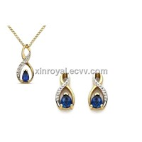S00223 Gold Plated Sapphire Necklace Earring Bijoux with Stone, Imitation Diamond Zircon Jewelry Set