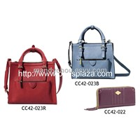 Lady leather pu handbag and wallet