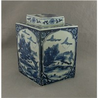 RYUK01 H12.5inch Jindezhen Porcelain Blue and White jars, Hand painted Qing dynasty reproduction