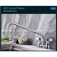 "Commercial Deck Mounted Sink Mixer,Kitchen Faucet with 12"" Swing Spout"
