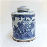 RYZK02 Blue and white painted boy and kylin porcelain ginger jars