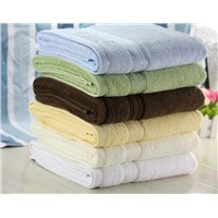100% Cotton Solid Color Dyed Embroider Bath Towel