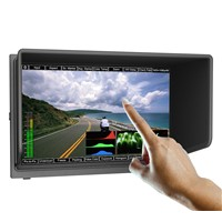 "10.1"" touch 3G-SDI camera monitor with histogram, waveform, vector scope & audio level meter."