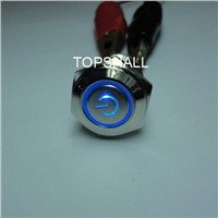 16mm waterproof illuminated metal push button switch with power logo