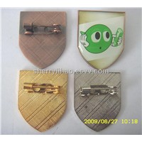 epoxy resin domed metal lapel pin,shiled shape metal epoxy pin badge