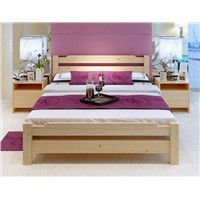 Wooden double bed, solid wood, measures of 200*120*75cm