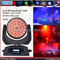 LED Moving Head Wash 36*10w With Zoom Color Mixing for DJ/Bar/Parties