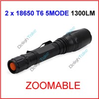 UltraFire XML-T6 Zoomable Focus LED 1300lumen Waterproof 18650 Camp Bicycle Flashlight Torch 5Mode