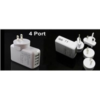 4 Port 10W USB Wall Charger Power Adapter For IPAD iPhone Sumsung Sony HTC LG & AU US UK EU
