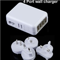 UK,EU,US,AU plugs Plug 4 slot  Replacement mobile phone charger 4 Port USB Travel Charger