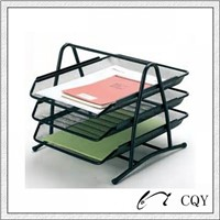 metal mesh 3 shelf file tray