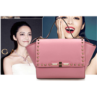 2015 different color pink leather tote bag women/designer lady/genuine leather bags manufacturer