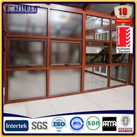 Aluminum curtain wall with awning window and fixed panel
