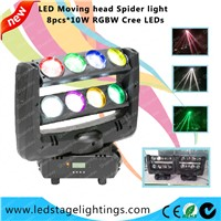 8PCS*10W Cree LEDs RGBW,LED Spider beam moving head,led club light