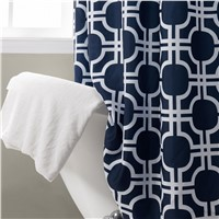 Custom Fashion Designed Shower Curtains Polyester Shower Printed Geometric Dark Blue