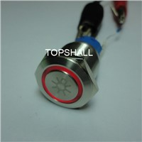 19mm Illuminated Automobile Stainless Steel Maintain Metal Push on Switch
