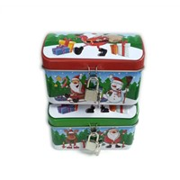 Xmas metal tin box for candy with lock