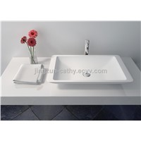 Elegant Stain-resistance Solid Surface Bathroom Counter-top Basin-JZ9002