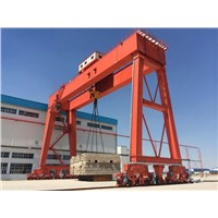 mobile rubber-tyred container portal crane 45t