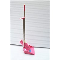 Small cheap pink broom and dustpan set