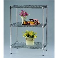 Home Furniture 3 Tier Bedroom Chrome Wire Shelving