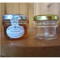 wholesale small round clear honey glass jars with tin lids 30ml