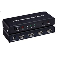 2x2 HDMI Switch Splitter With IR Remote Control