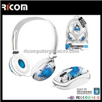 Computer headphone mouse set,mouse and heapdhone accessory,headphone and mouse combo--HM7008