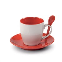 Red(color)glaze cup and saucer with spoon