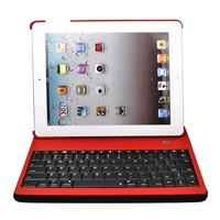 Wireless Bluetooth Keyboard And Leather Case Stand for ipad -Red