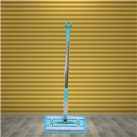 Flat mop with steel handle and self-locked head