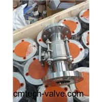 three piece ball valve with platform(3pc flanged ball valve)