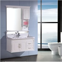 Solid wood bathroom vanity with light OGX082