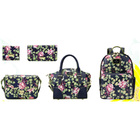 New manufacture wholesale women fashion calico flower lady handbags /pu women calico tote bag
