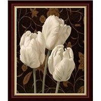 hand painted  flower oil painting ---three Lily
