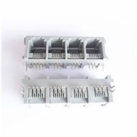 Side Entry rj45 PCB Jack 6P6C single row 4 Port  Connector
