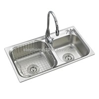 Best Quality double bowls stainless steel sink with International standard design (Model No.: 6838A)