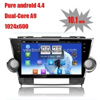 "10.1"" Android 4.4 car navigation for toyota highlander with 1024 * 600 resolution and DVR input"