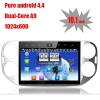 "10.1"" Android 4.4 car navigation for VW Tiguan with 1024 * 600 resolution and DVR camera input"
