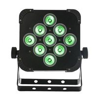 Factory Price New 9pcs*18W 6in1 RGBAW UV Battery Powered Wifi LED Flat Par Light,ADJ LED Par Light