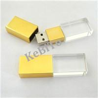 Gold Cap Crystal USB Flash Drive 8GB