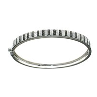 White and Black Diamond Bangle in 18k white gold