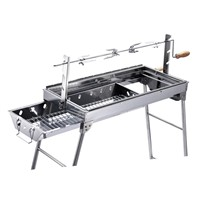 Outdoor portable stainless steel charcoal BBQ grill with rotisserie set