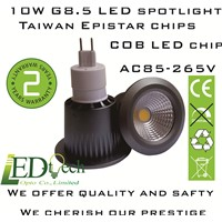 10W AC85-265V G8.5 LED spotlight Epistar LED chip energy saving G8.5 COB spotlight  LED lamp G8.5