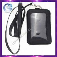customized leather ID card holder with lanyard
