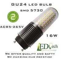 GU24 LED bulb AC85-265V 16W LED GU24 bulb SMD 5730 LED lamp GU24 beam angle 360 degree