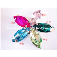 Top sale sew on rhinestone claw setting crystals Glass stone Boat shape