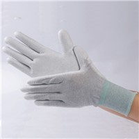 ESD Nylon Carbon White PU Coated Palm Fit Glove Antistatic Glove ESD Gloves